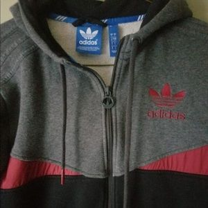 Adidas Black, Gray & Red Men's Small Hoodie